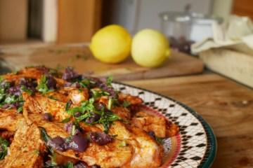 Sizzling grilled harissa olive chicken