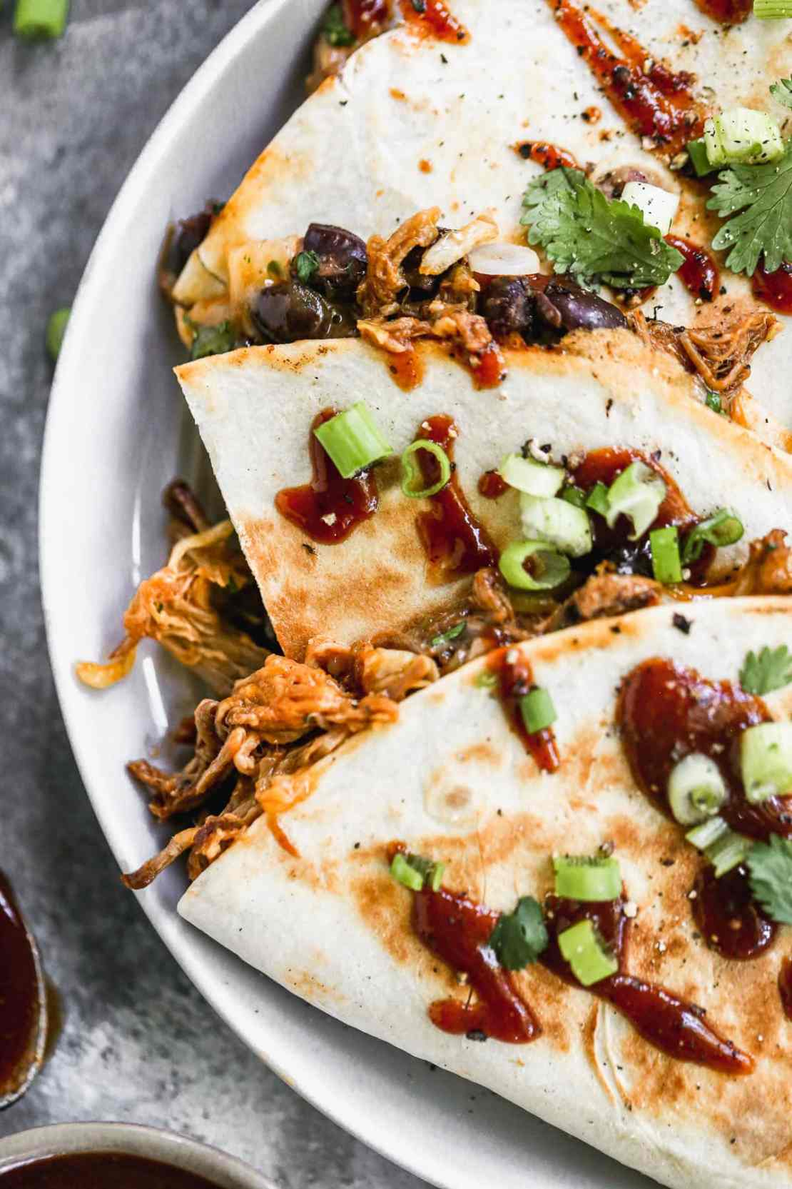 A BBQ Pulled Pork Quesadilla on a Plate