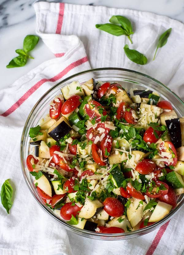 Tomato Eggplant Zucchini Bake is a gorgeous and easy summer side filled with Italian flavor. A great way to bake eggplant or zucchini! Recipe at wellplated.com | @wellplated