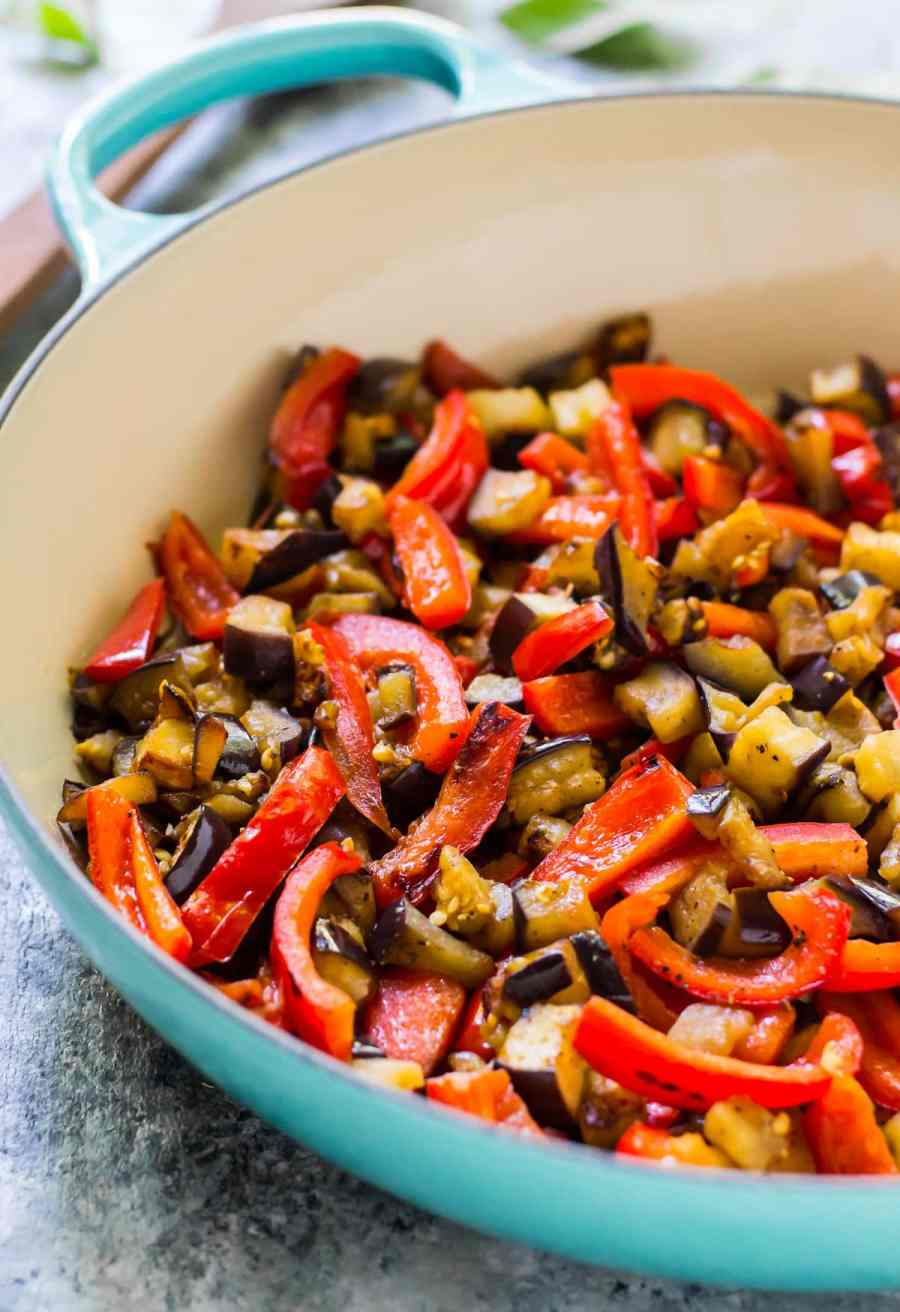 sauteed eggplant and red bell pepper