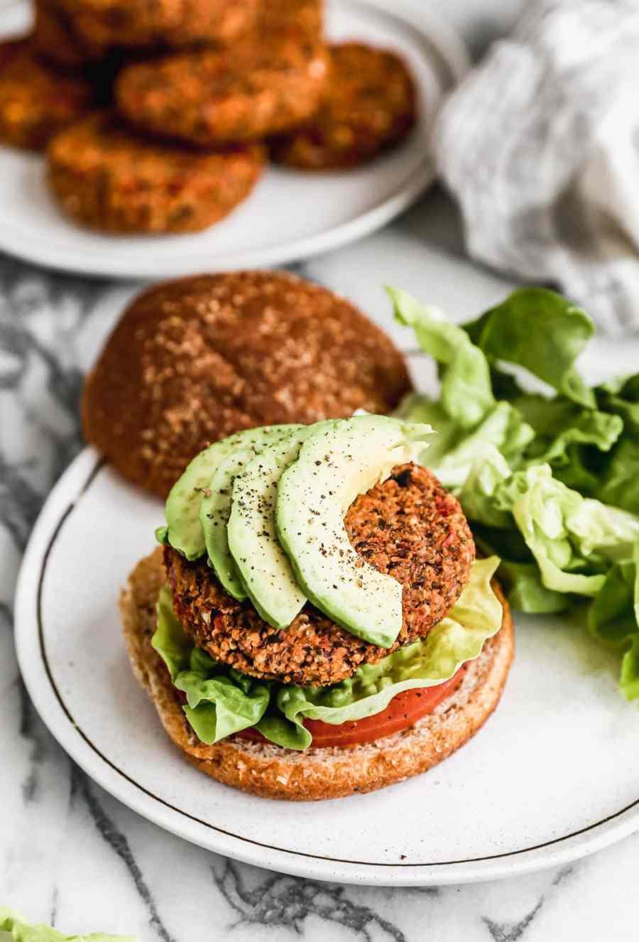Two vegan burger patties on buns