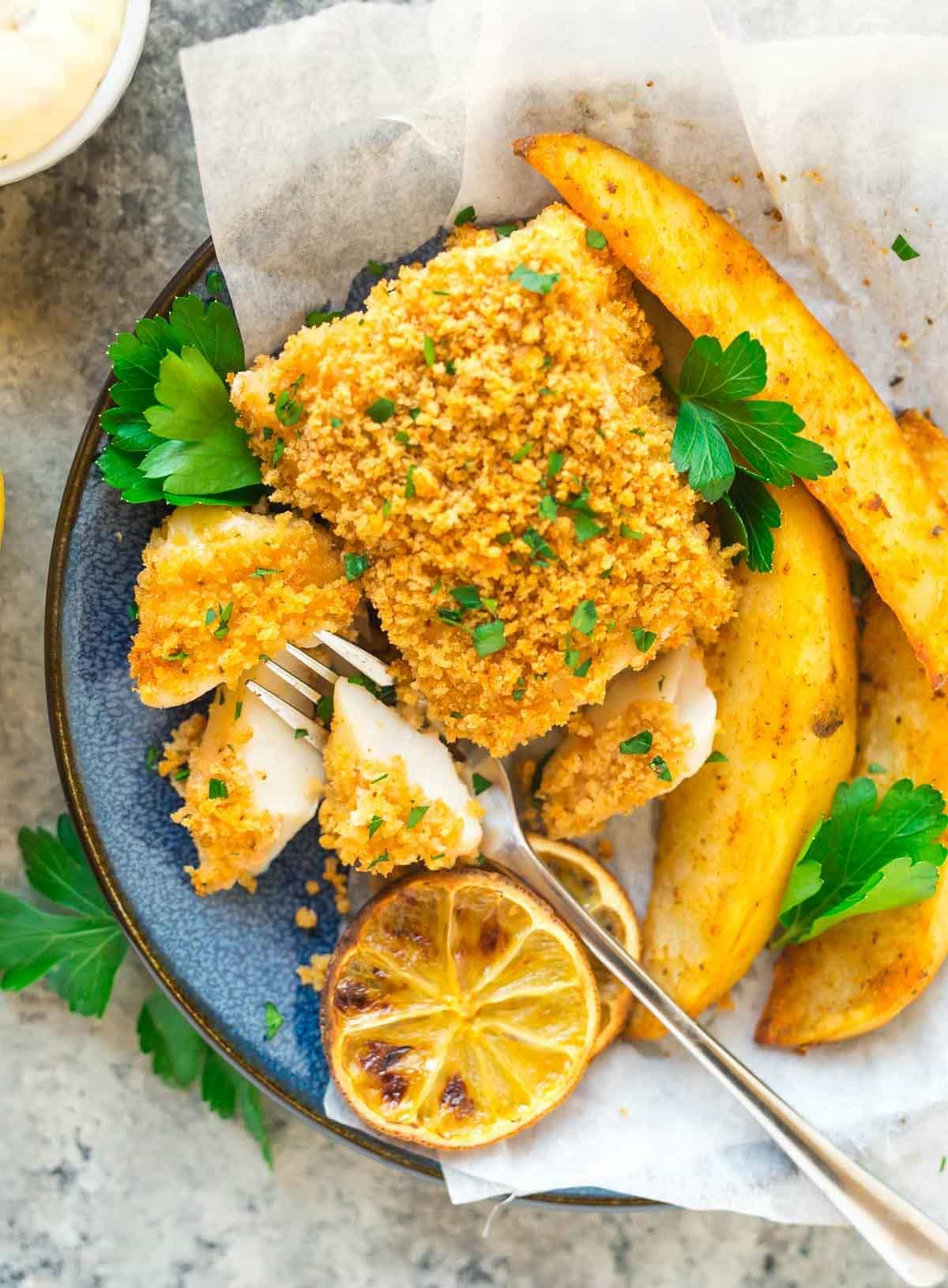 Oven Baked Sheet Pan Fish And Chips