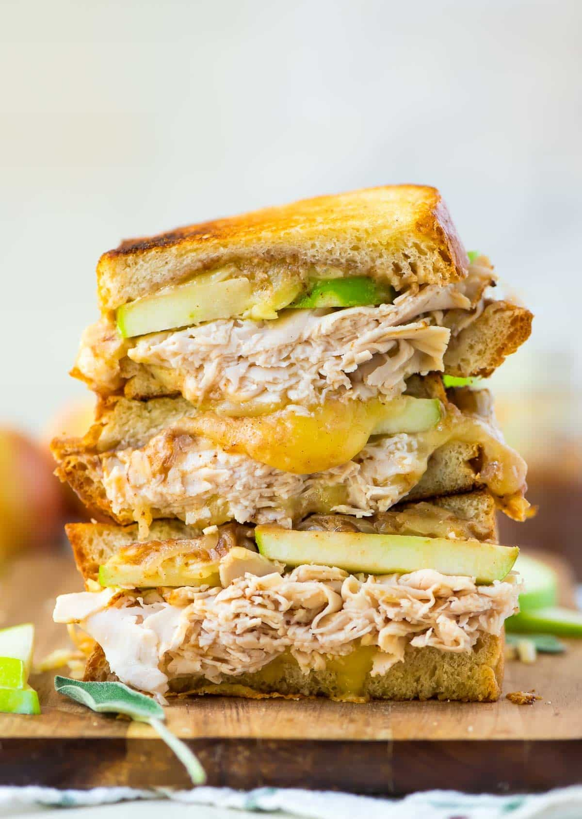 Apple Grilled Cheese with Turkey, Cheddar, and Apple Butter