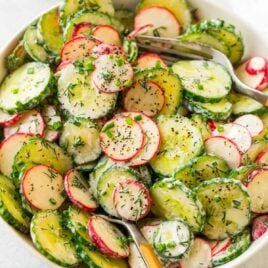 Healthy Creamy Cucumber Salad with Greek yogurt, radish, and dill. A light, bright, and refreshing version of old-fashioned cucumber salad that's perfect for summer potlucks and BBQs!