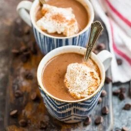 Two mugs of healthy hot chocolate made with almond milk and cacao