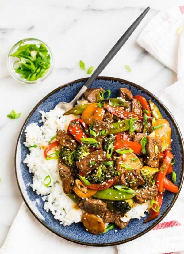 A plate with Teriyaki Beef Stir Fry with Rice