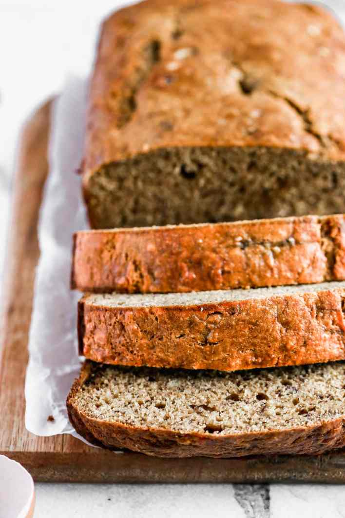 Sliced healthy banana bread
