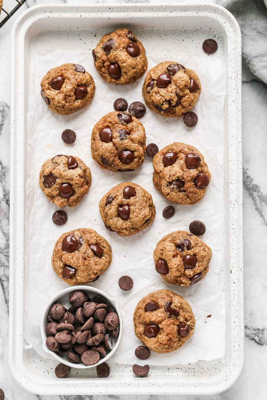 A tray of healthy chocolate chip cookies