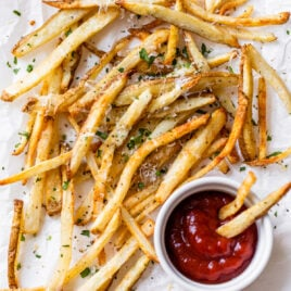 Air fryer french fries with ketchup