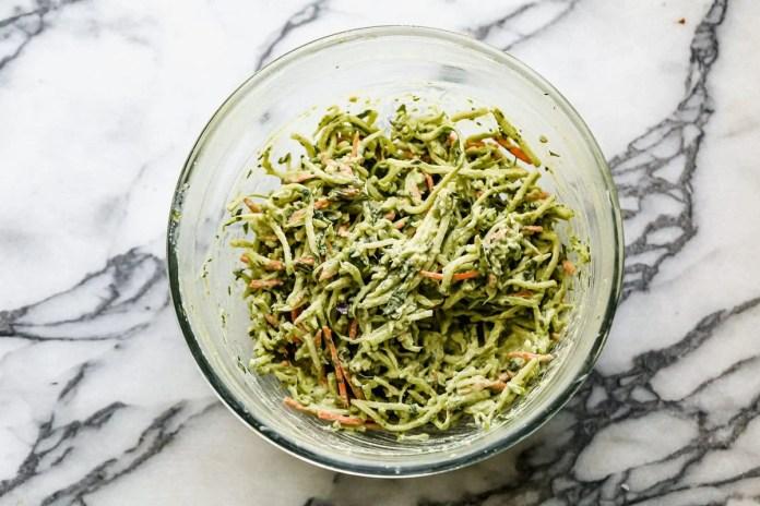 Avocado broccoli slaw in a bowl