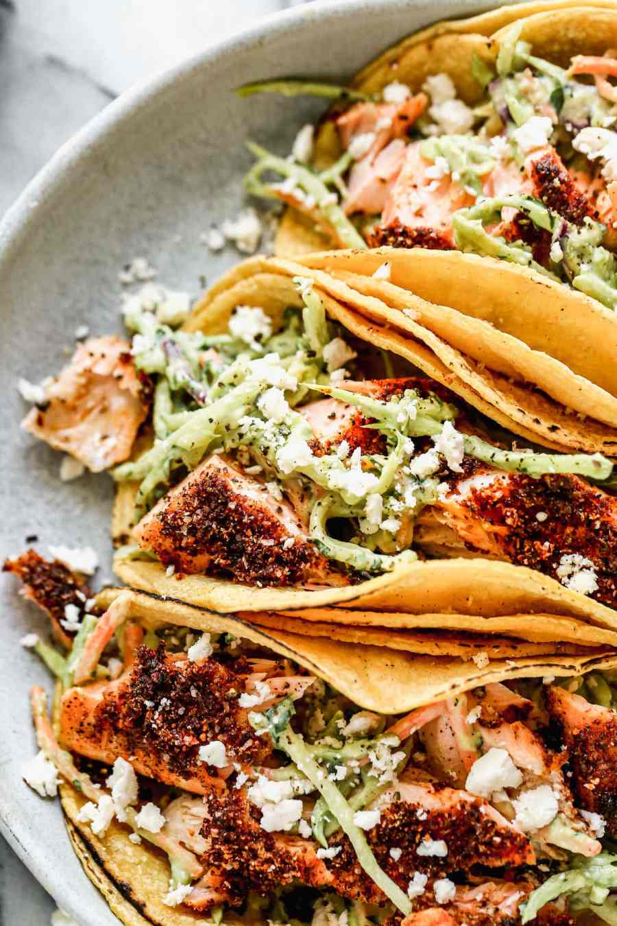 Easy salmon tacos with avocado slaw
