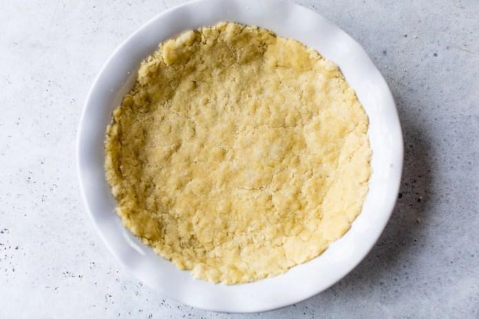 Dough pressed into a dish
