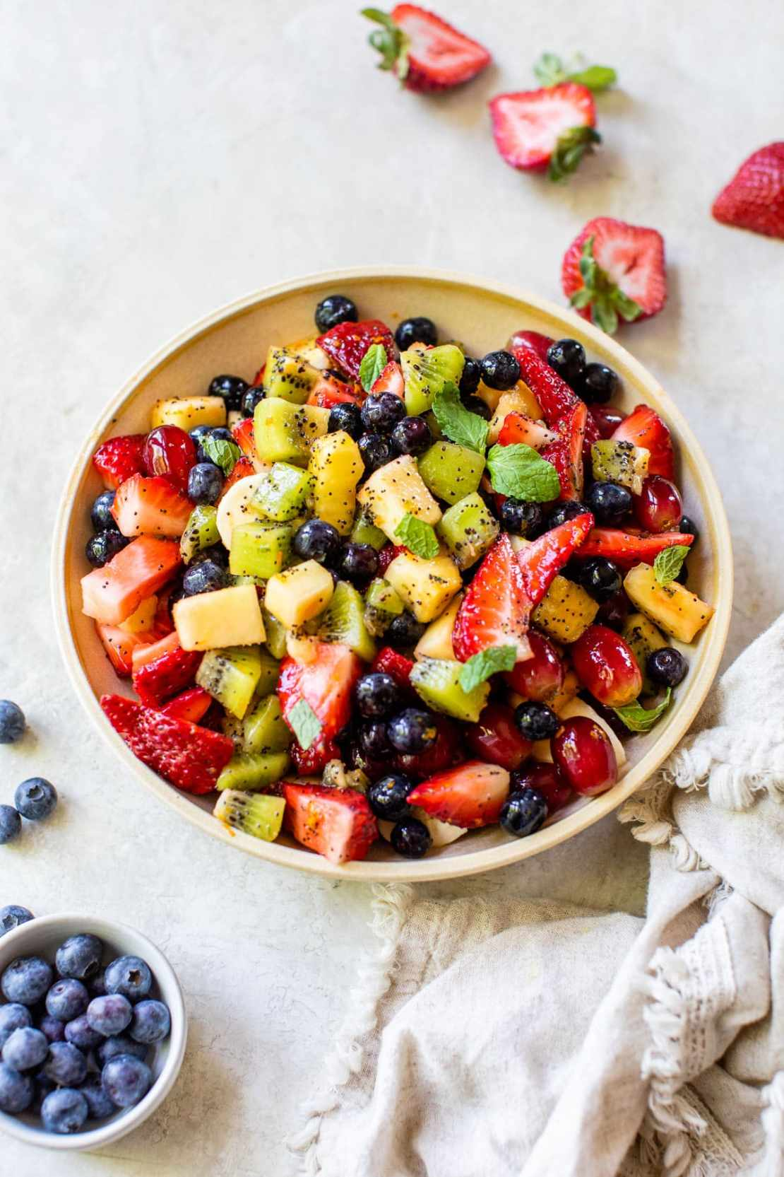 homemade fruit salad with dressing