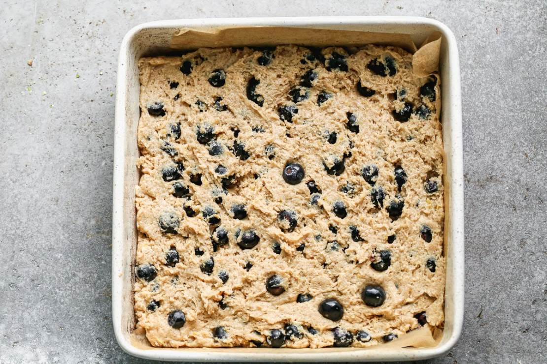 blueberry buckle in a baking pan