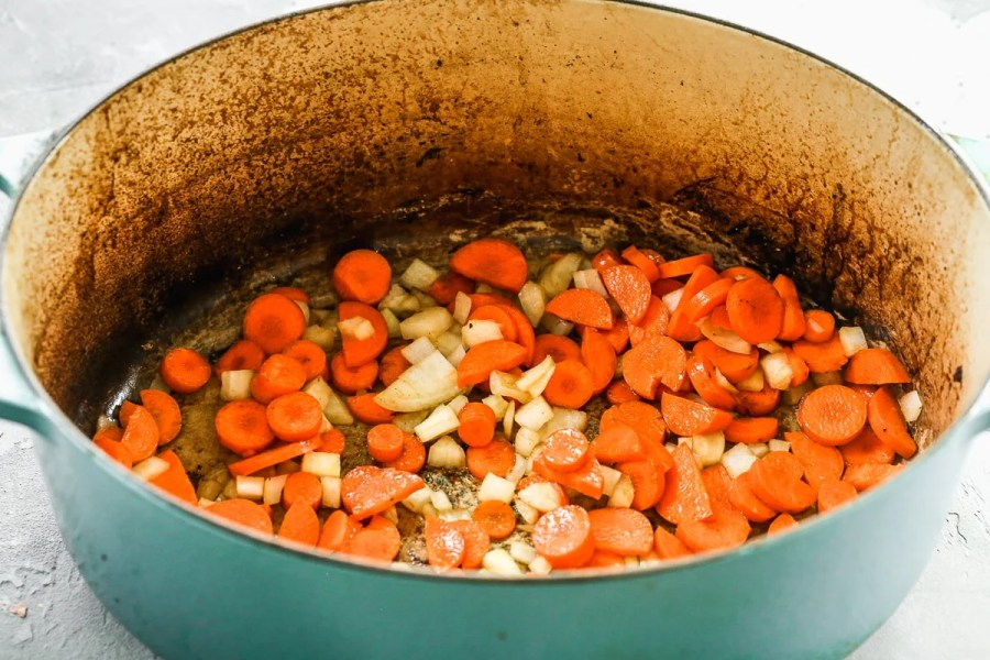 Vegetables in a Dutch oven