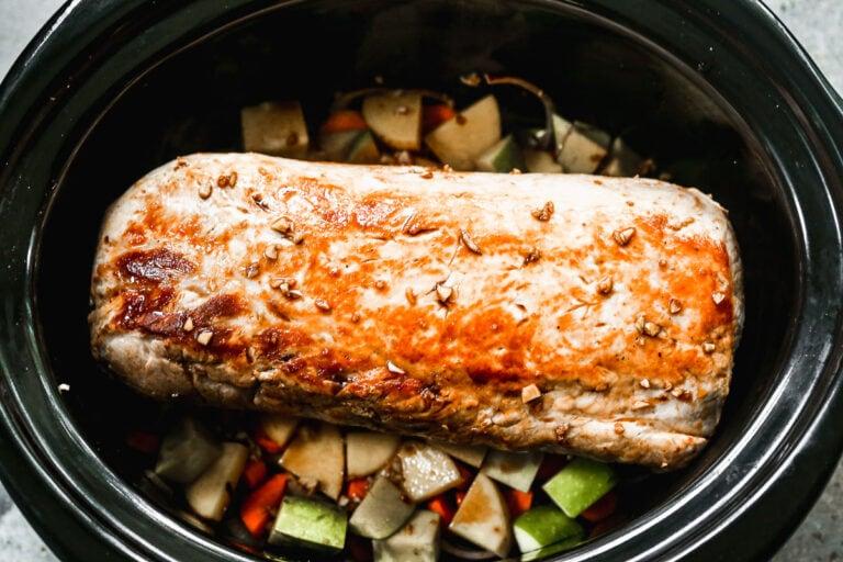 Crock pot pork roast being made