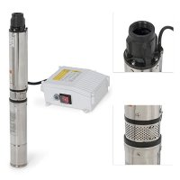 ARKSEN Deep Well Submersible Pump + Control Box, 1 HP, 110v, 60hz, 33GPM, 200FT Head, Stainless Steel, 4""