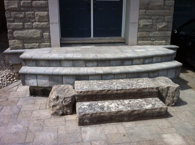 landscape Burlington stone entrance with steps