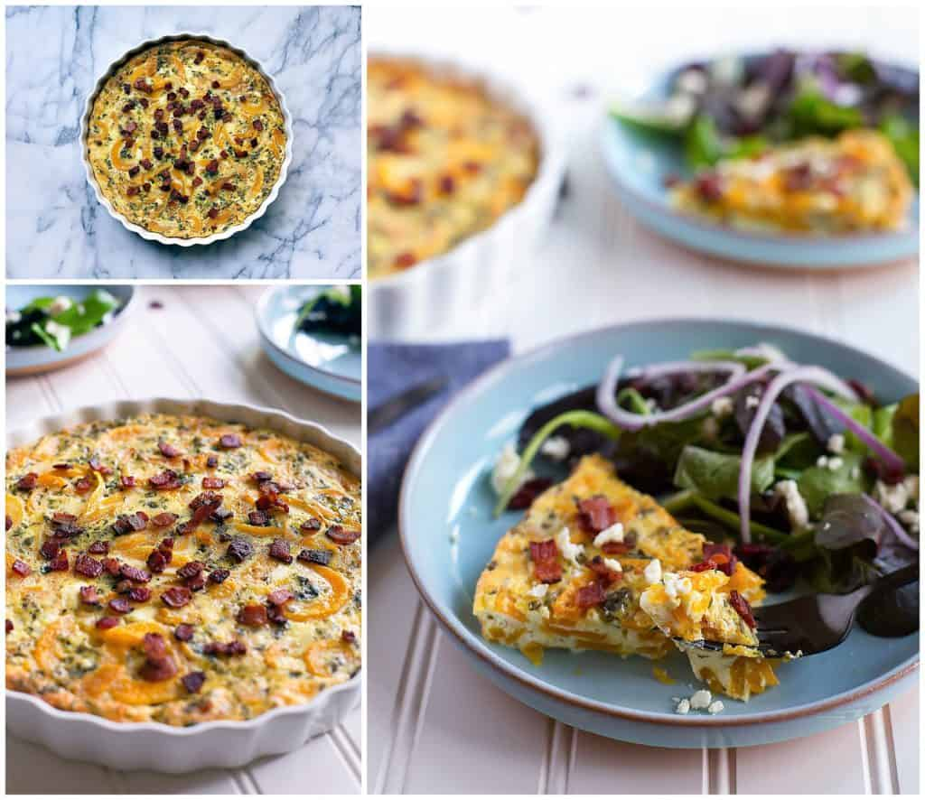 Spiralized butternut squash quiche