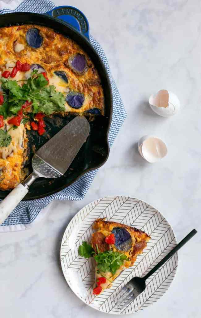 Chicken chorizo frittata with manchego, and roasted peppers