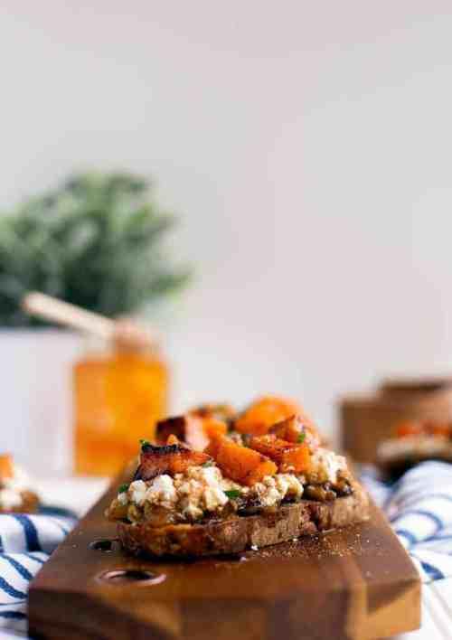 Cranberry walnut crostini with butternut squash and ricotta