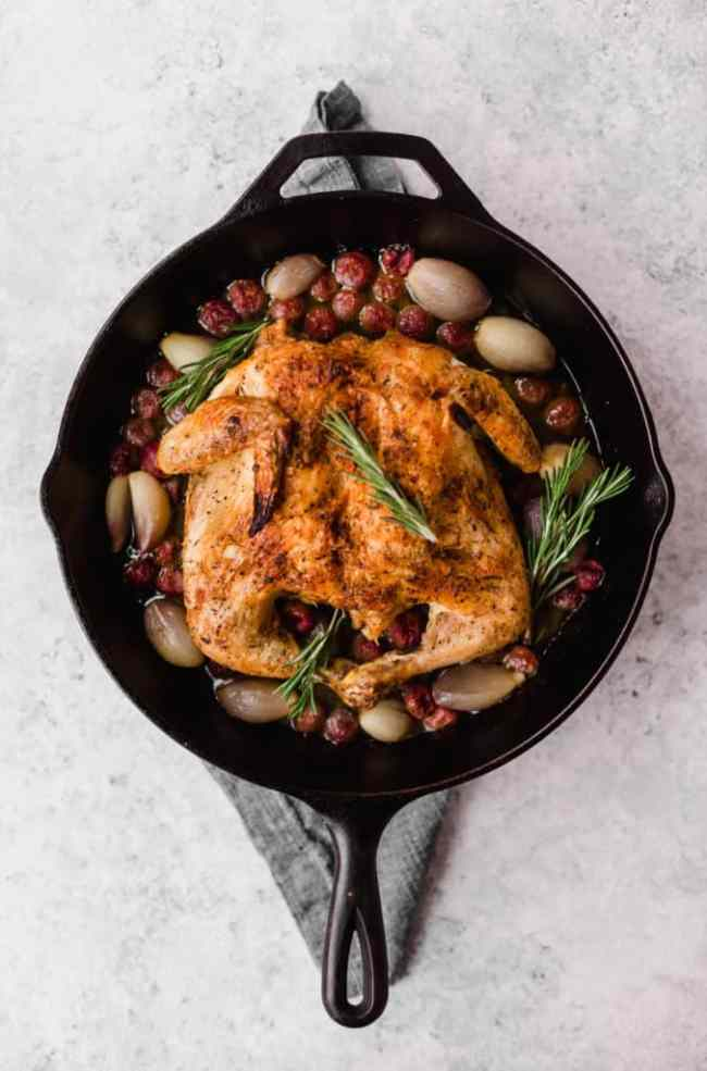 Spatchcocked chicken with grapes and shallots