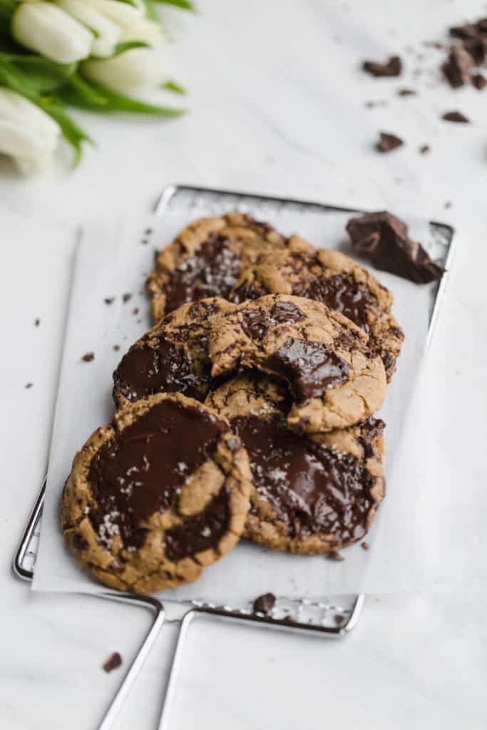 Chewy spelt dark chocolate chunk cookies
