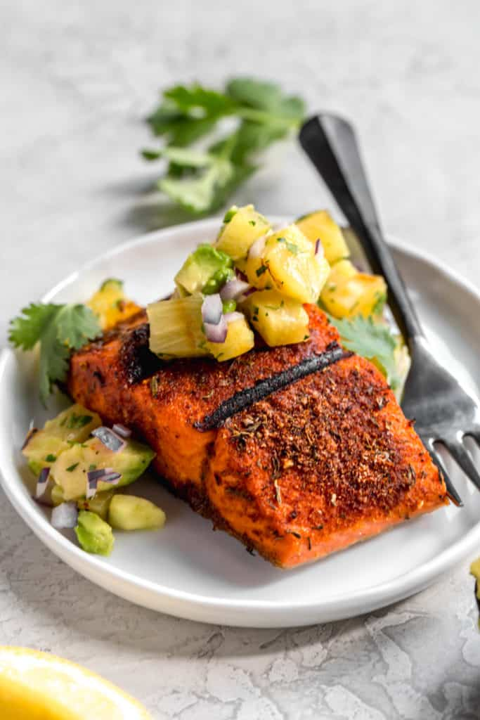 blackened salmon with pineapple-avocado salsa