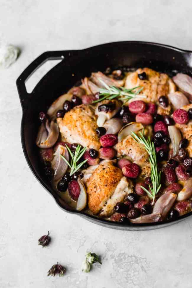 dinner party chicken! roast chicken with shallots, olives, grapes, and rosemary!