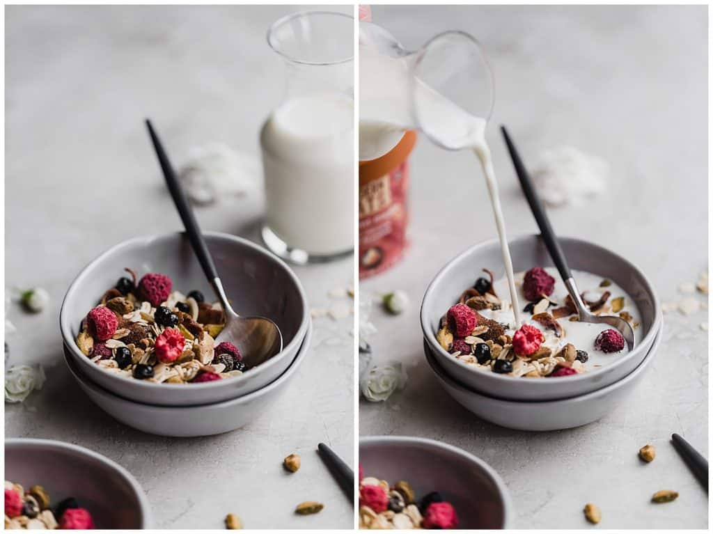 easy homemade muesli with pistachios and dried blueberries!