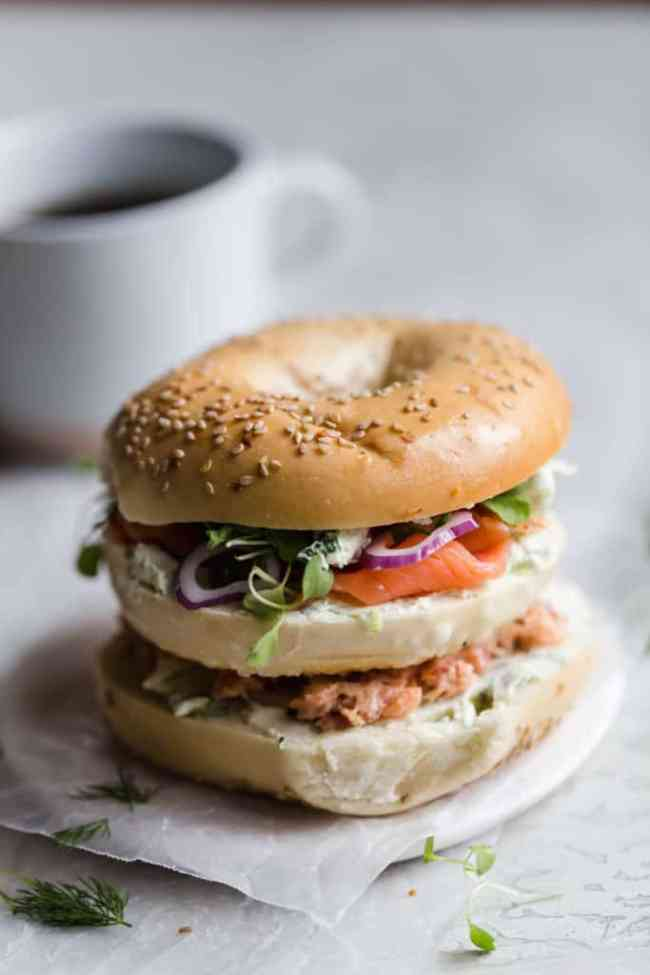 two tiered bagel and lox sandwich
