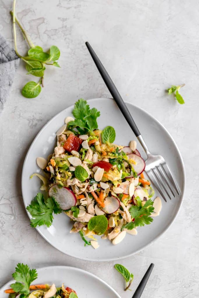 lunch made simple! warm brussels sprout slaw with asian sesame vinaigrette