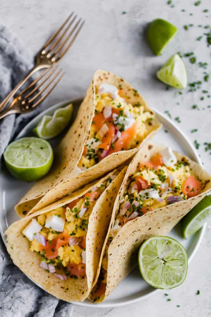 easy breakfast tacos with smoked salmon and cream cheese