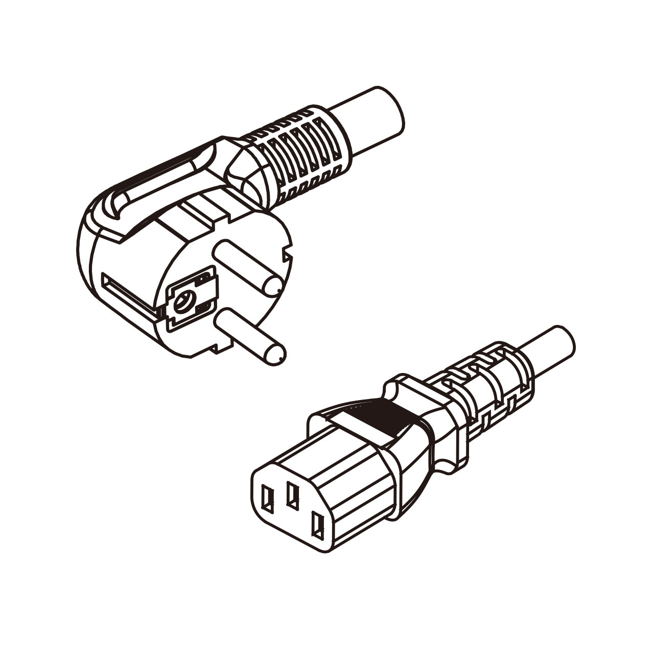3 Pin Iec 320 C13 Ac Pvc Cord Set