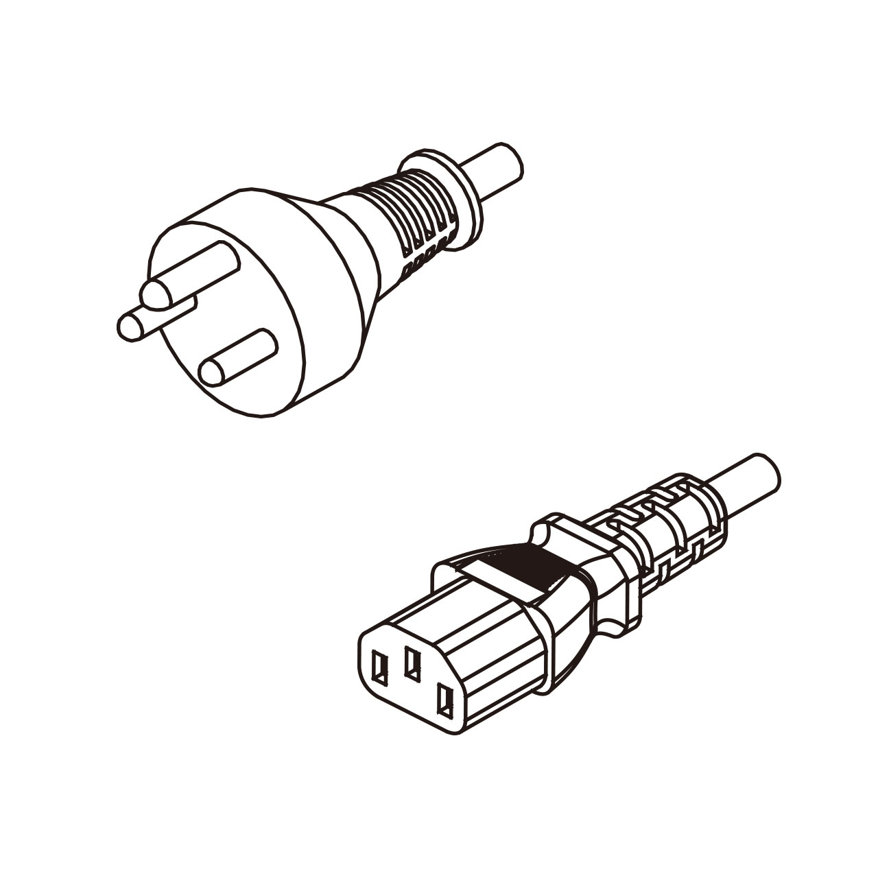 3 Pin Iec 320 C13 Ac Pvc Cord Set 1 8