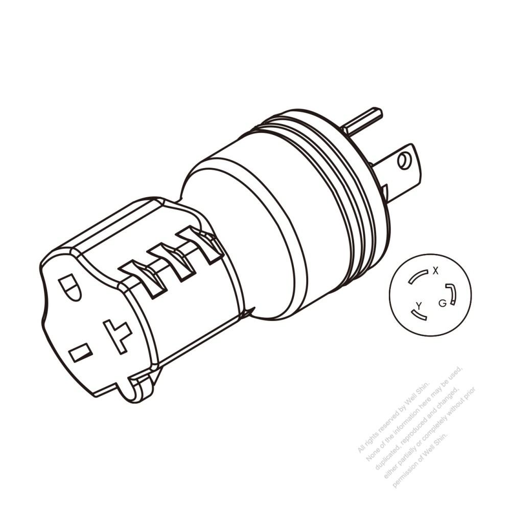 medium resolution of adapter plug nema l6 20p twist locking to nema 6 20r 2