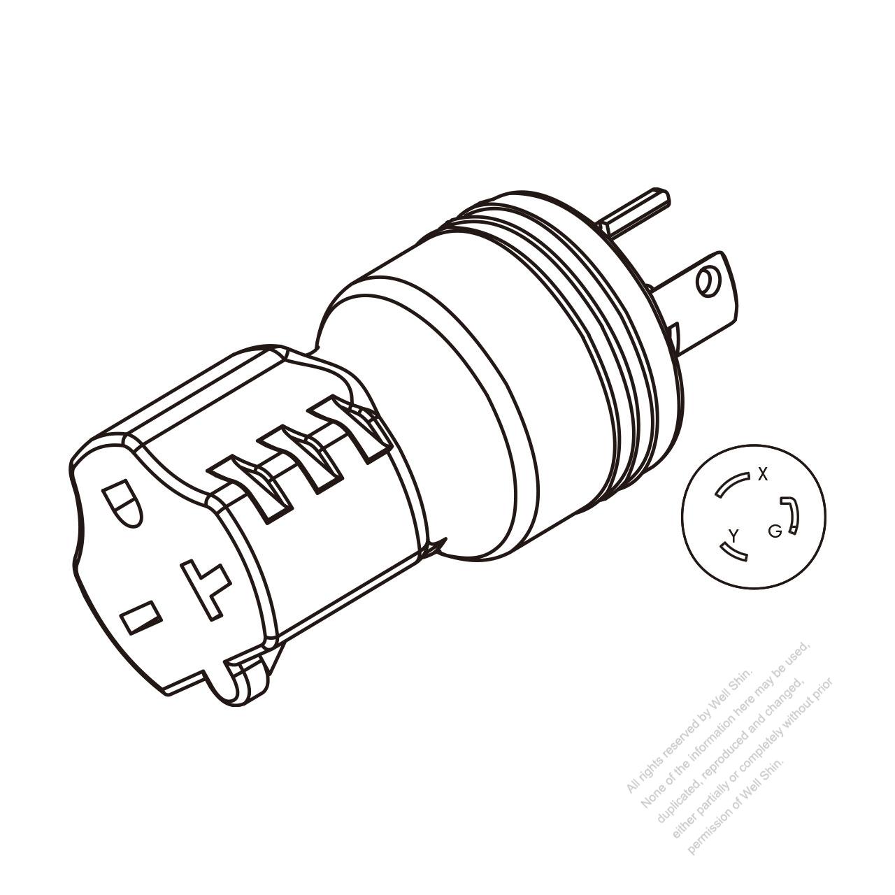 hight resolution of adapter plug nema l6 20p twist locking to nema 6 20r 2