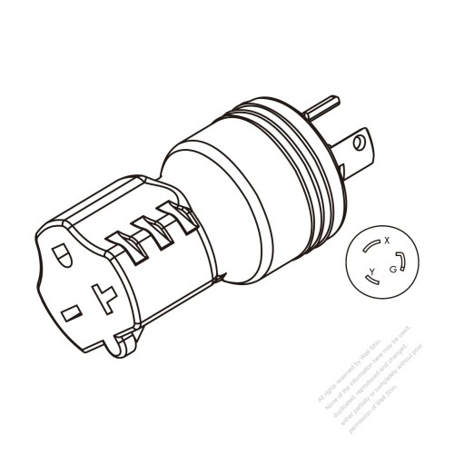 small resolution of adapter plug nema l6 20p twist locking to nema 6 20r 2