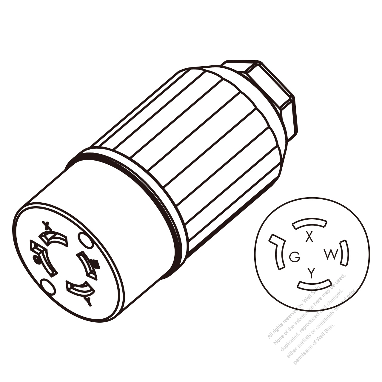 USA/Canada Twist-Lock Connector (NEMA L14-20R) 4-Pin