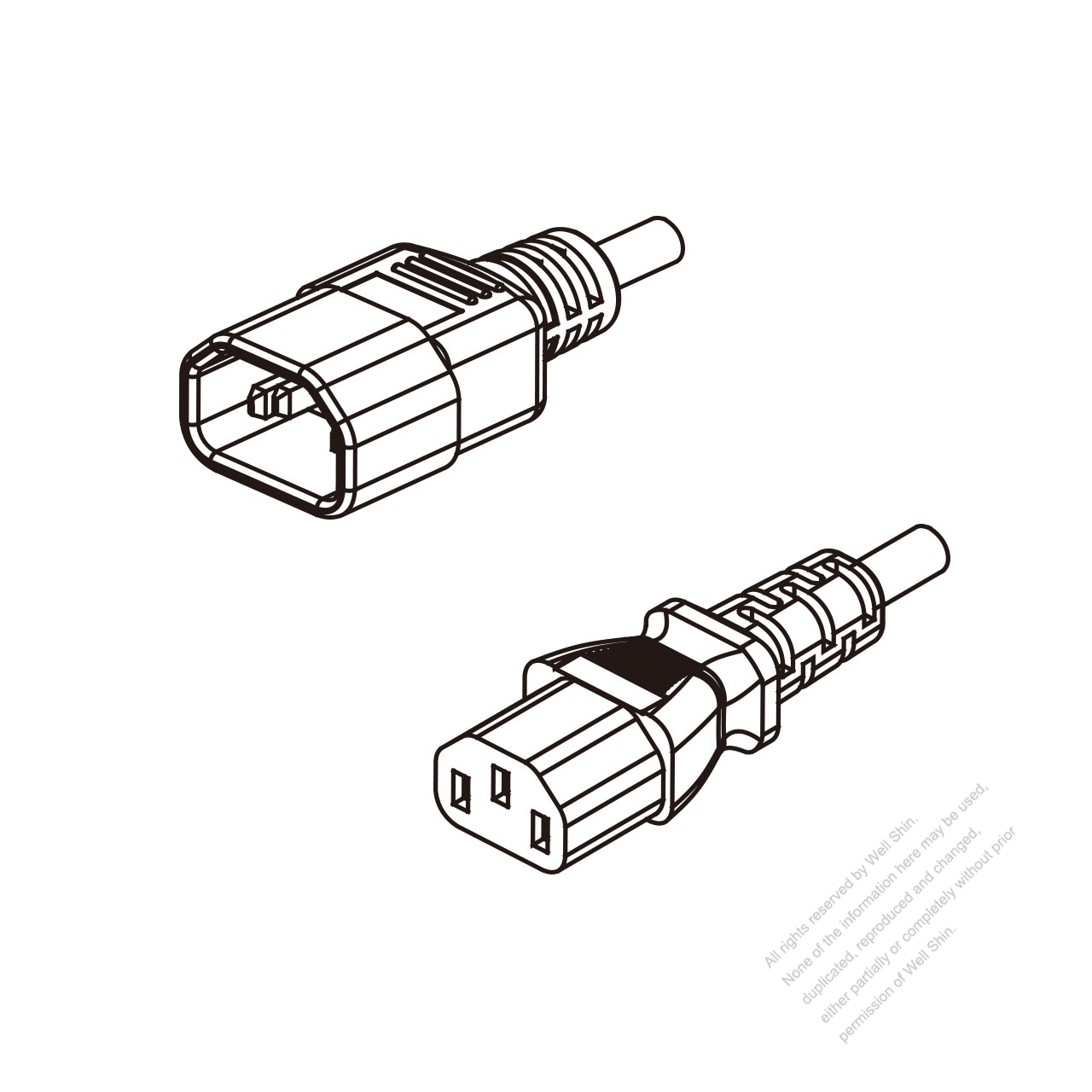 hight resolution of china 3 pin iec 320 sheet e plug to iec 320 c13 ac power cord
