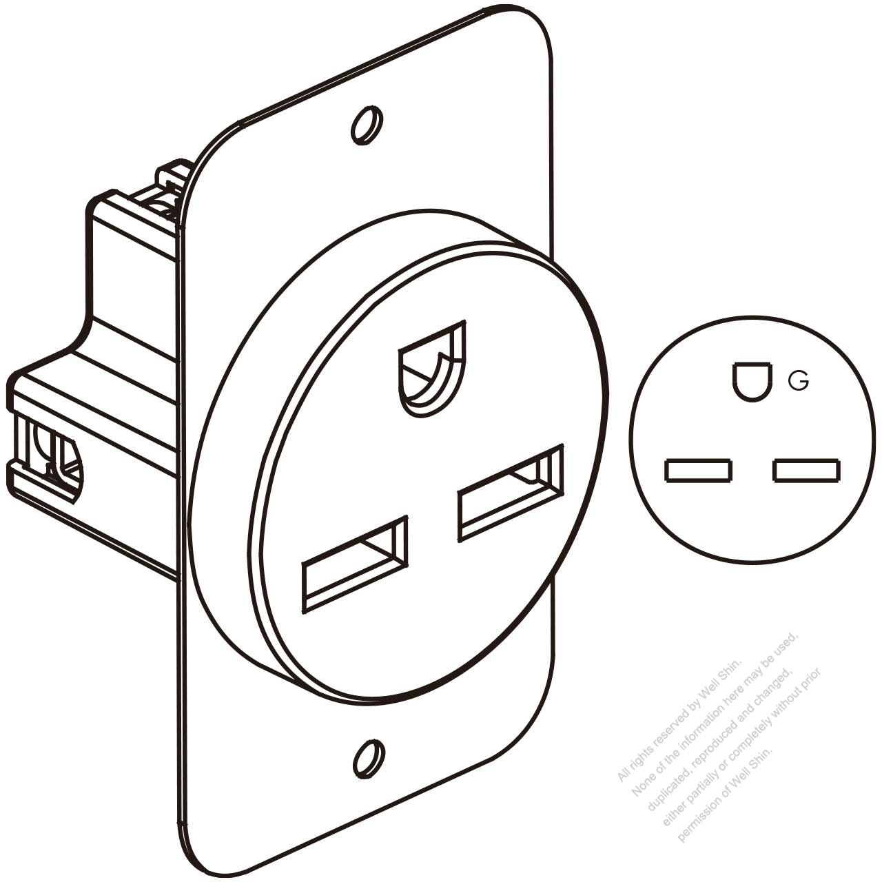 USA/Canada Flush Mount Receptacle NEMA 6-30R, 2 P 3 Wire