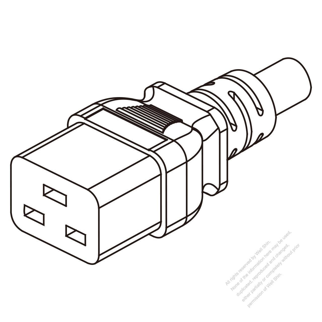 IEC 320 C19 Connectors 3-Pin Straight 16A/20A /125,250V