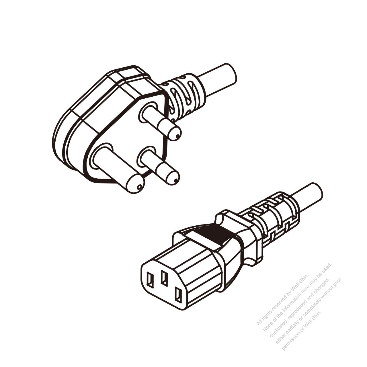 India 3-Pin Angle Plug To IEC 320 C13 AC Power Cord Set