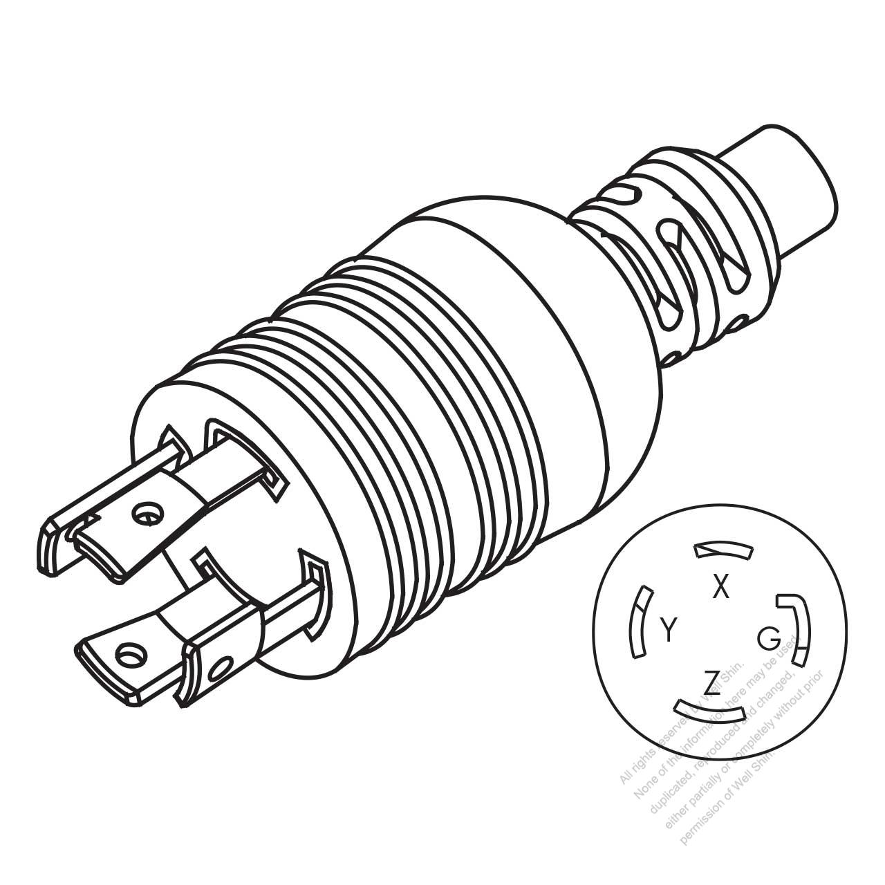 hight resolution of usa canada nema l15 30p twist locking ac plug 3 p 4