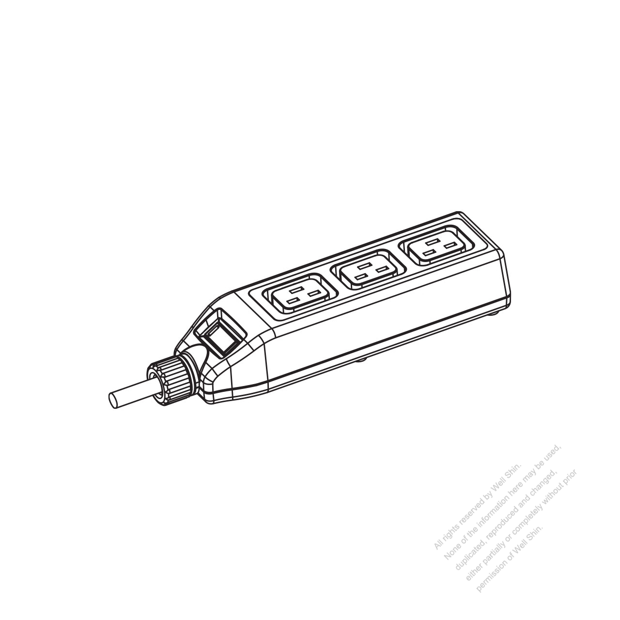 IEC 320 Power Strip Sheet J Outlet x 3, 3-Pin 16A 250V