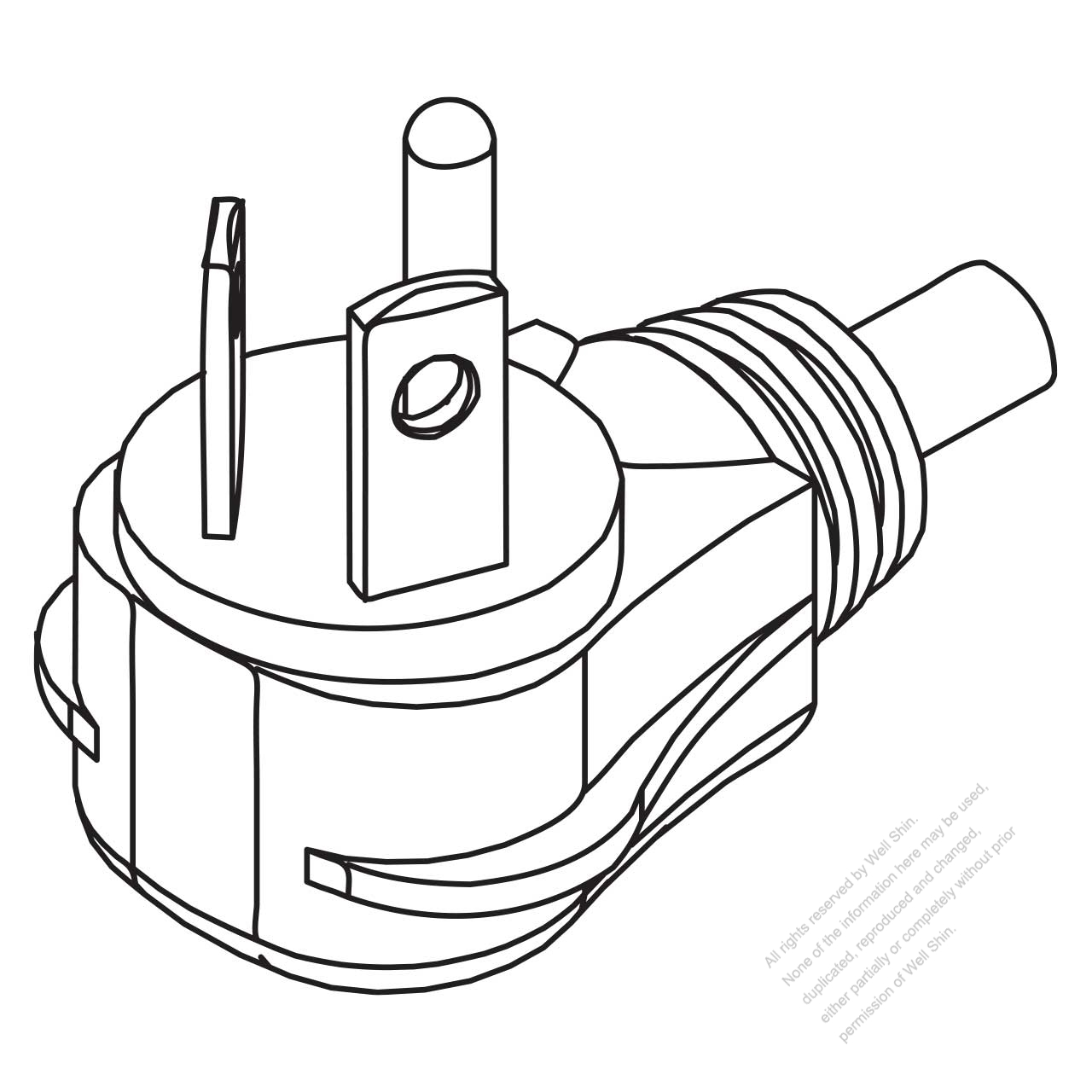 Usa Canada Nema 7 20p 2 P 3 Wire Grounding Elbow Ac Plug