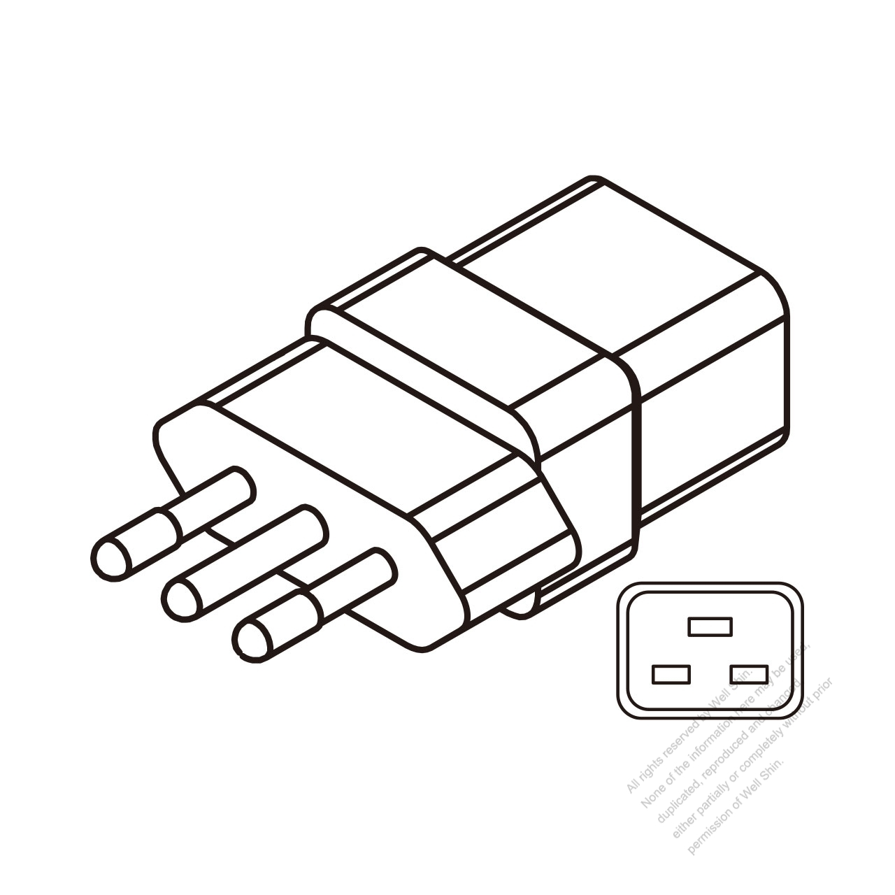 Adapter Plug, Italy to IEC 320 C19 Female Connector 3 to 3