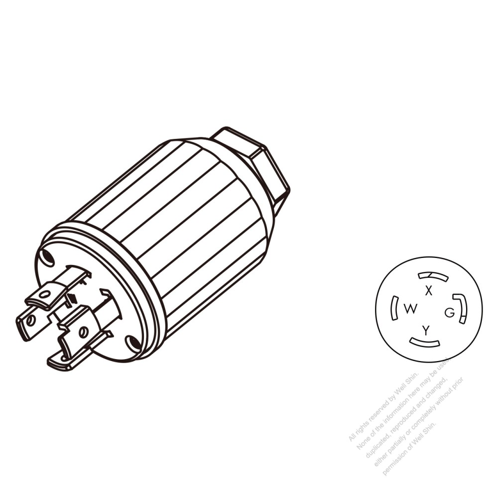 medium resolution of usa canada twist lock nema l14 30p 4 pin straight