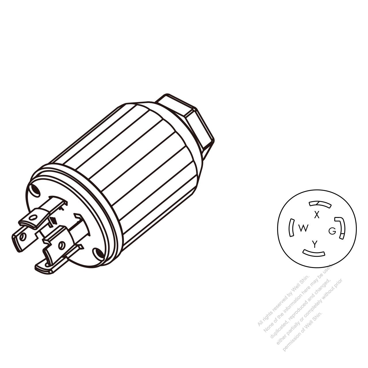 hight resolution of usa canada twist lock nema l14 30p 4 pin straight