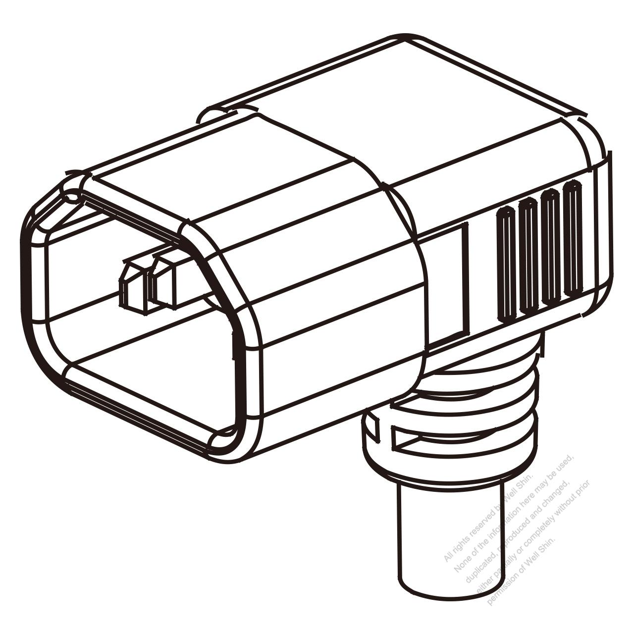 UK IEC 320 Sheet E (C14) Plug Connectors 3-Pin Angle 10A